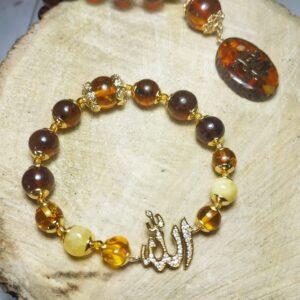 браслет мусульманский с янтарем